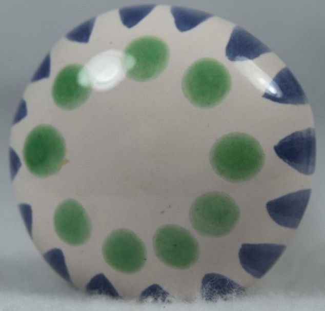 De Rosa Collections PlantStake5 Plant Stake - Cream Blue Green Dots