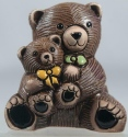Artesania Rinconada 327A Teddy Bear with Baby Yellow Green Bowties