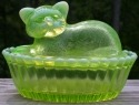 Special Sale 0018VaselineOpal Westmoreland Glass Moulds 0018 5' Cat on Basket Vaseline Opal Hand Painted