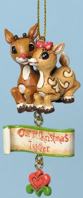 Jim Shore Rudolph Reindeer 4034900 Rudolph and Clarice Ornament