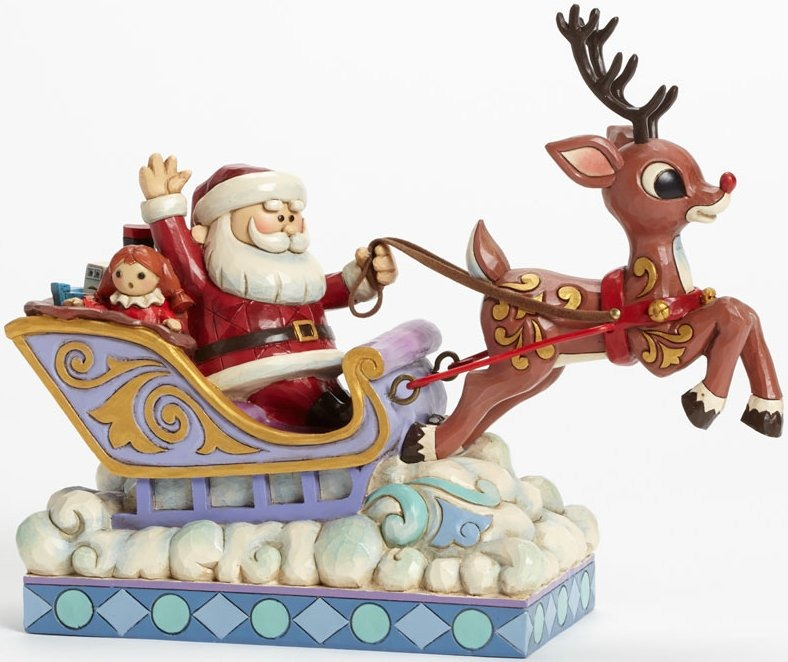 Jim Shore Rudolph Reindeer 4041642 Santa In Sleigh and Rudolph