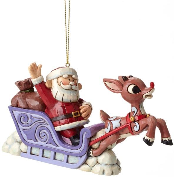 Jim Shore Rudolph Reindeer 4048257 Ho Santa Sleigh & Rudolp