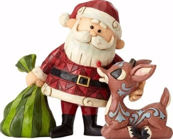Jim Shore Rudolph Reindeer 4058344 Santa & Rudolph and Bag