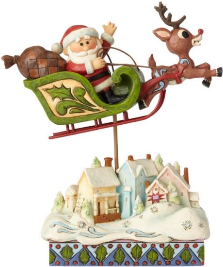 Jim Shore Rudolph Reindeer 6001593 Santa in Sleigh w Re