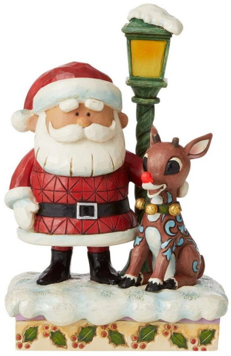 Jim Shore Rudolph Reindeer 6009110 Rudolph with Lamp Post Figurine