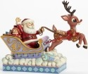 Jim Shore Rudolph Reindeer 4041642 Santa In Sleigh and Rudolph