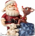 Jim Shore Rudolph Reindeer 4053070 Santa With Rudolph in Toy Bag