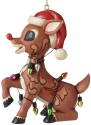 Jim Shore Rudolph Reindeer 6006794N Rudolph Wrapped In Lights Ornament
