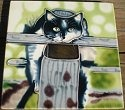 Special Sale 1542M Tile 1542M Black & White Cat Tile Magnet 2 x 2