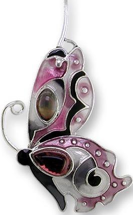 Zarah 0715Z1P Garnet Butterfly Pendant on Chain