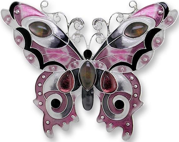 Zarah 0715Z2P Garnet Butterfly Pendant on Chain