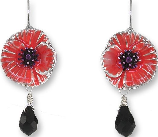 Zarah Co Jewelry 0908Z1 Chinese Poppy Earrings