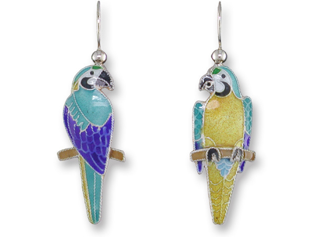 Zarah Co Jewelry 136001 Blue & Gold Macaw Earrings