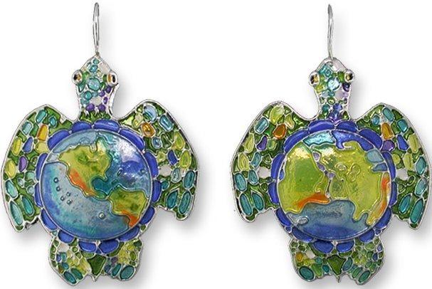 Zarah Co Jewelry 1601Z1 Earth Turtle Earrings