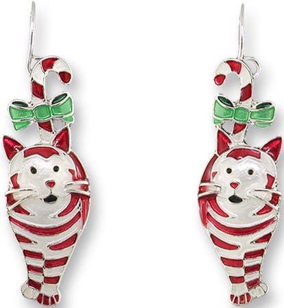 Zarah Co Jewelry 1701Z1 Candy Cane Cat Earrings