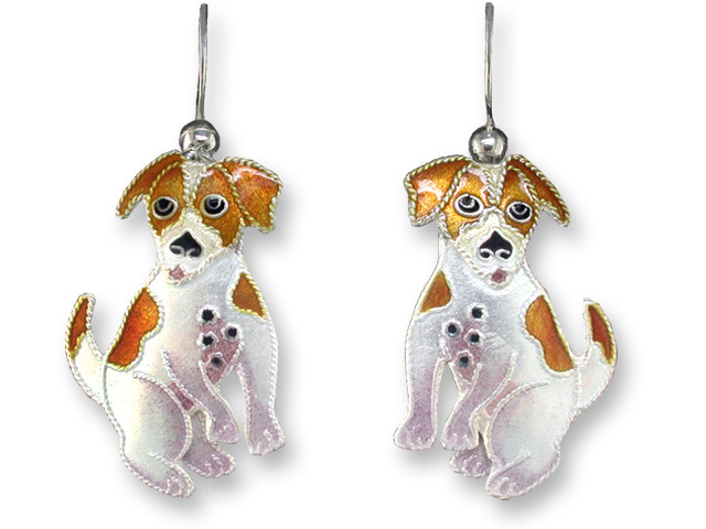 Zarah Co Jewelry 197701 Jack Russell Terrier Earrings