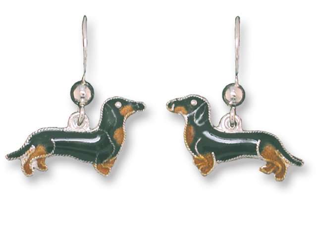 Zarah 198701 Black Tan Dachshund Earrings