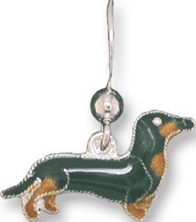 Zarah Co Jewelry 198701P Dachshund Black Tan Pendant on Chain