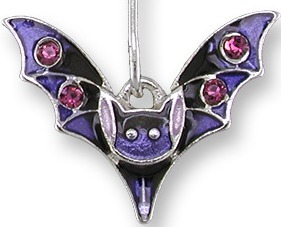 Zarah Co Jewelry 2020Z1P Crystal Bat Pendant on Chain