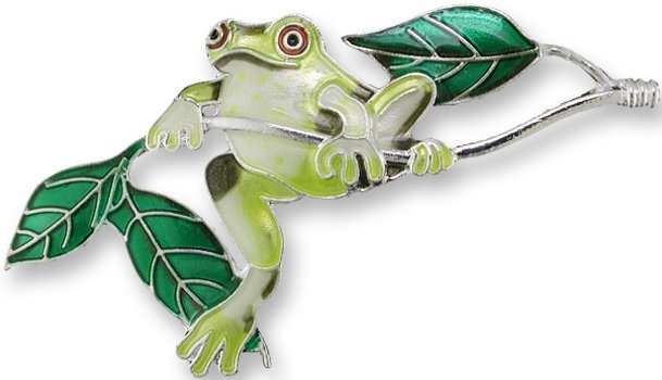 Zarah Co Jewelry 2122Z2 Frog On Twig Pin Brooch