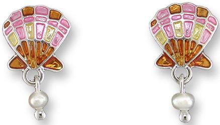 Zarah Co Jewelry 2129Z1 Scallop with Pearl Earrings