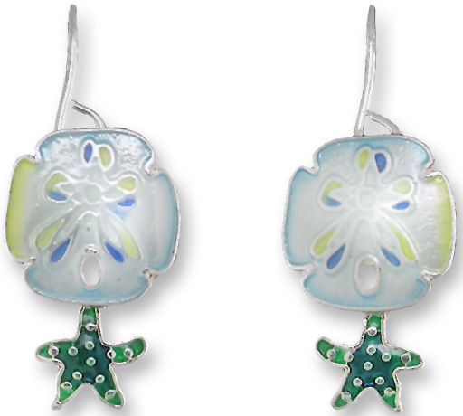 Zarah Co Jewelry 2150Z1 Sand Dollar and Starfish Earrings
