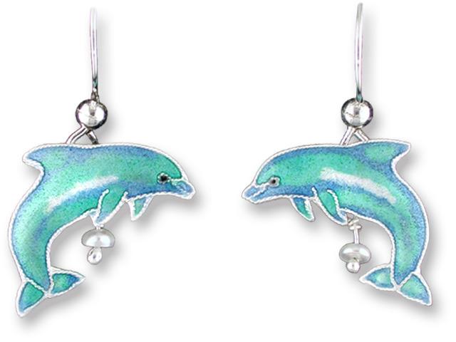 Zarah Co Jewelry 216301 Dolphin with Pearl Earrings