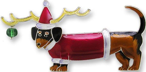 Zarah Co Jewelry 2177Z2 Christmas Dachshund Pendant