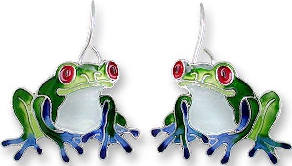 Zarah Co Jewelry 2919Z1 Blue-Toed Frog Earrings