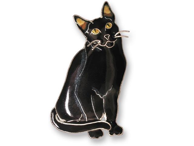 Zarah Co Jewelry 295702 Black Kitty Pin Brooch