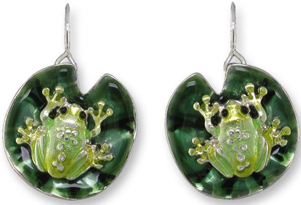 Zarah Co Jewelry 3209Z1 Frog on Lily Pad Earrings