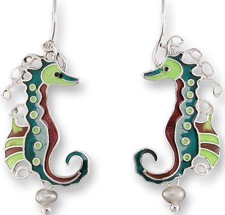 Zarah Co Jewelry 3303Z1 Pearly Seahorse Earrings