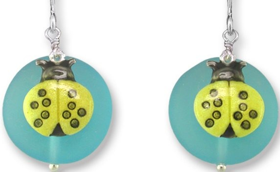 Zarah Co Jewelry 335901 Yellow Ladybug on Glass Earrings