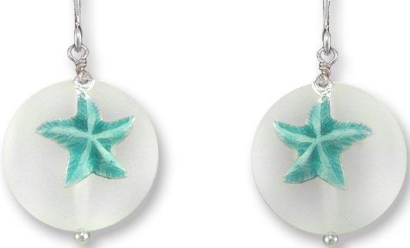 Zarah Co Jewelry 336001P Starfish on Glass Pendant on Chain
