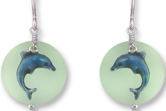 Zarah Co Jewelry 336401 Dolphin on Glass Earrings