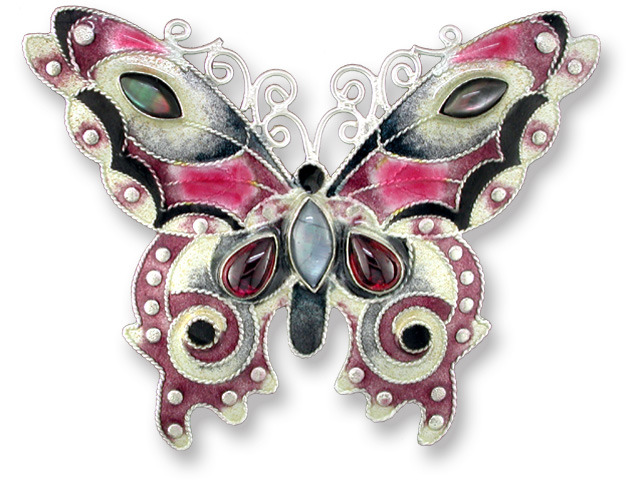 Zarah Co Jewelry 579502 Garnet Butterfly Pin Brooch