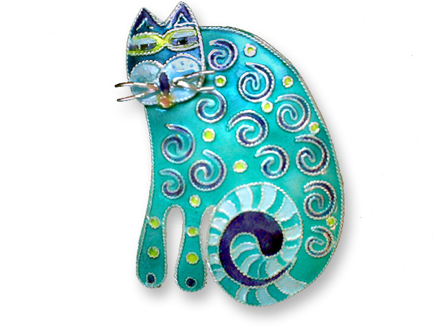 Zarah Co Jewelry 612402 Curlicue Cat Pin Brooch