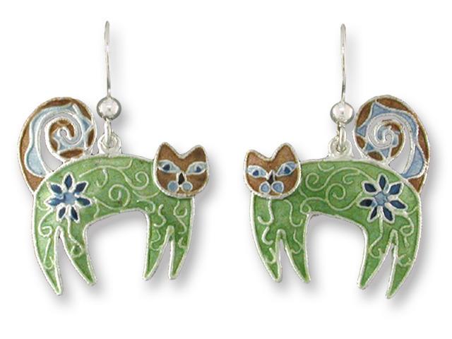 Zarah Co Jewelry 615201 Flowered Feline Earrings