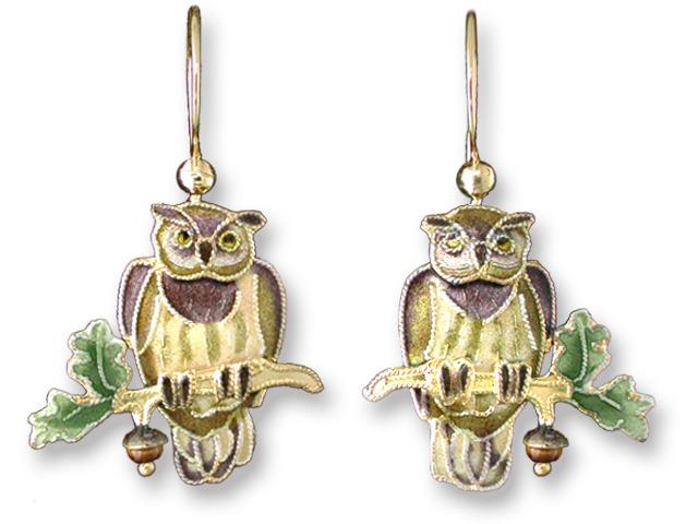 Zarah Co Jewelry 710401 Great Horned Owl Earrings