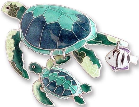 Zarah Co Jewelry 78304 Green Turtles & Fish Pin Brooch