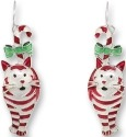 Zarah Co Jewelry 1701Z1 Candy Cane Cat Earrings