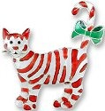 Zarah Co Jewelry 171592 Candy Cane Cats Pin Brooch