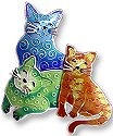 Zarah Co Jewelry 197502 Colorful Cat Trio Pin Brooch