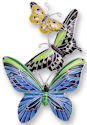Zarah Co Jewelry 2128Z2P Tropical Butterflies Pendant on Chain