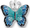 Zarah Co Jewelry 2905Z1P Blue Morpho Butterfly Pendant
